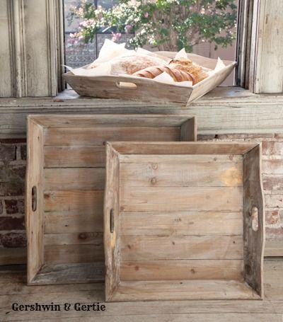 """Square Farmhouse Serving Trays With Cut-Out Handles, Set of 3  Quantity: Add to a new shopping list Email this page to a friend  Price: $144.95 Item Number: GGPH7823 Made from reclaimed wood. Set of 3: 21"""" x 21"""" x 4"""", 22"""" x 22"""" x 4, 24"""" x 24"""" x 4"""""""