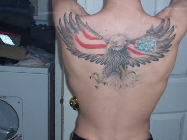 Big Flying Eagle With Flag Usa On Wings Tattoo On Back Tattoos In