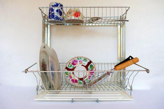 Vintage dish drainer Drying rack Wire dish rack Kitchen plate-rack Farmhouse decor Dish draining & Vintage dish drainer Drying rack Wire dish rack Kitchen plate-rack ...