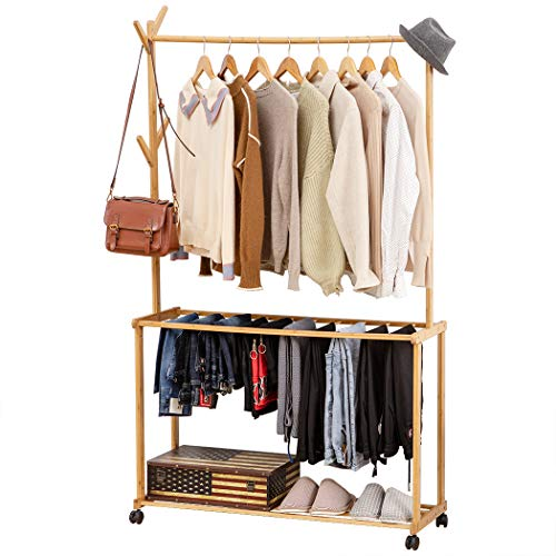 Copree Bamboo Rolling Garment Clothes Multifuctional Laundry Rack Best Offer Storagevat Com In 2020 Shoe Storage Shelf Laundry Rack Clothing Rack