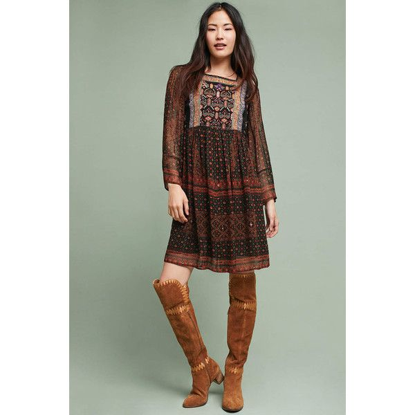Akemi + Kin Munro Embroidered Tunic Dress (€145) ❤ liked on Polyvore featuring dresses, red motif, green color dress, embroidered dress, red dress, broderie dress and red embroidered dress