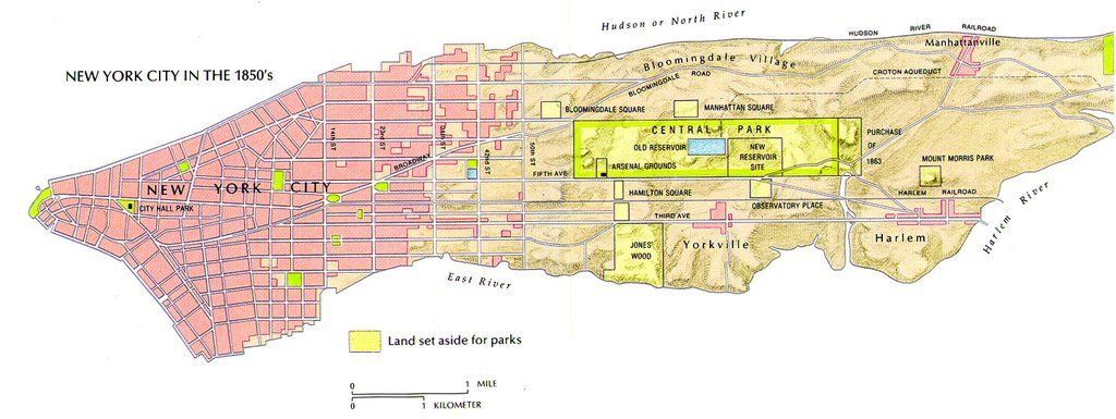 Las áreas desarrolladas y no desarrolladas de la ciudad de Nueva York en la década de 1850 [1488 x 559] CLIC AQUÍ PARA MÁS MAPAS! Thelandofmaps.tumblr.com