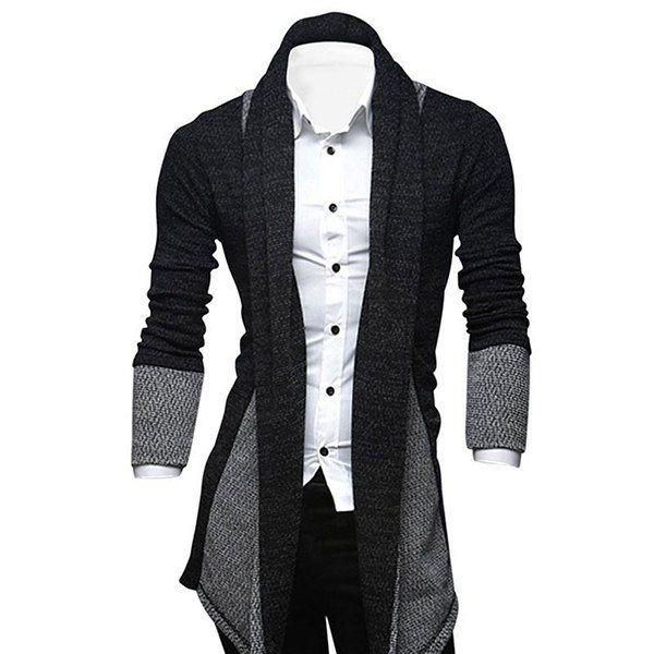 Turndown Collar Longline Color Block Cardigan | Man style