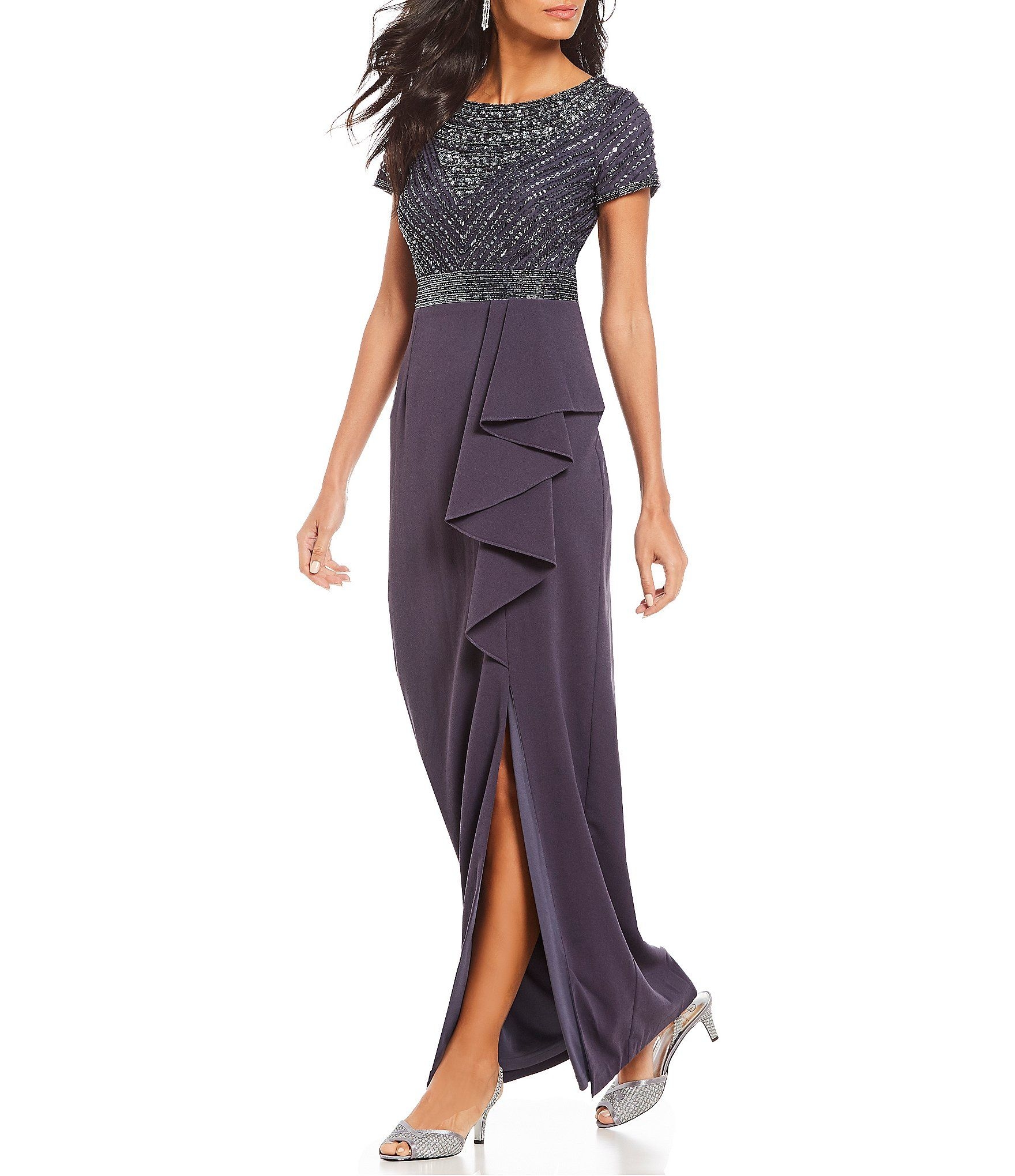 82fe4186476 Adrianna Papell Crepe Beaded Ruffle Front Slit Gown  Dillards ...