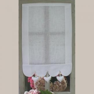 Brise-Bise Pompon Coeur et croquet Taupe Largeur 45 cm | curtains ...