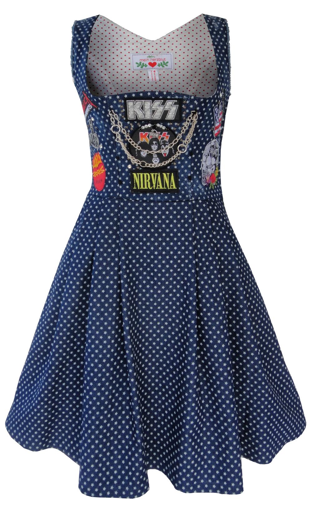 a80e9aa294f03 Heavy Metal Damen Dirndl Kleid mit Deinen Wunsch Patches ...