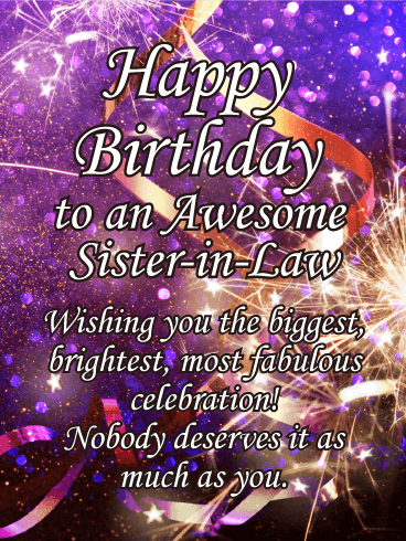 Glitter Happy Bday Sister : glitter, happy, sister, Sparkle, Happy, Birthday, Sister-in-Law, Greeting, Cards, Davia, Wishes, Sister,