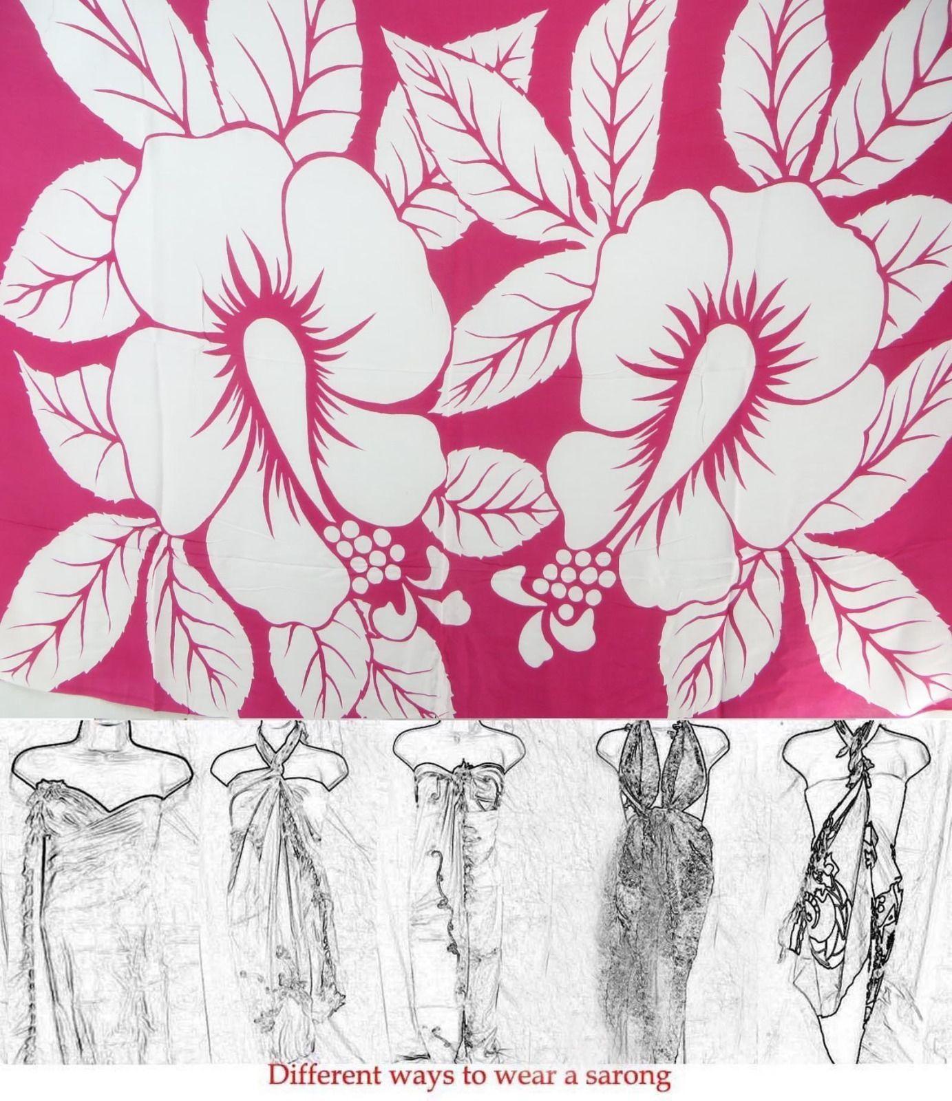 Discount fashion apparel giant white hibiscus sarong on fuchsia discount fashion apparel giant white hibiscus sarong on fuchsia background ebay izmirmasajfo