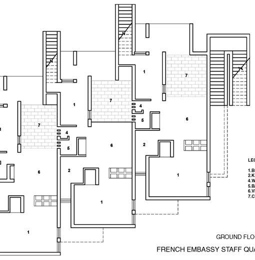 Raj Rewal  Housing for French Embassy Staff Quarter - New Delhi - copy blueprint detail in short crossword clue