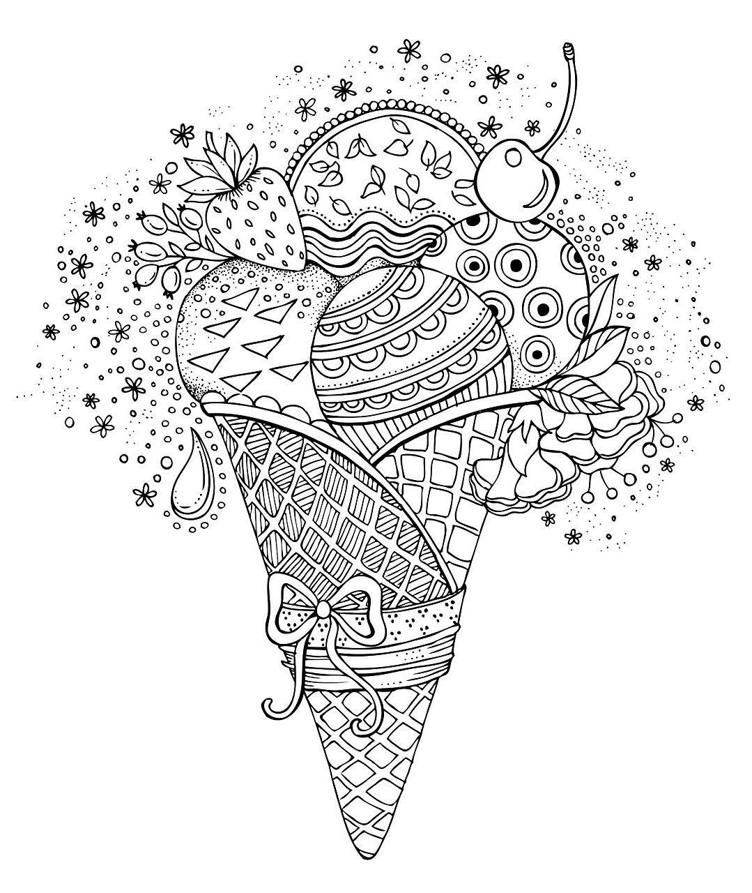 раскраски сладости мороженое рожок с фруктами