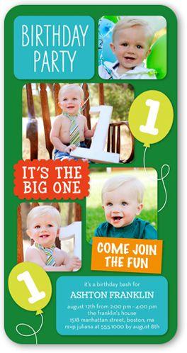 balloon fun boy x invitation card  birthday invitations, 4x8 invitation card
