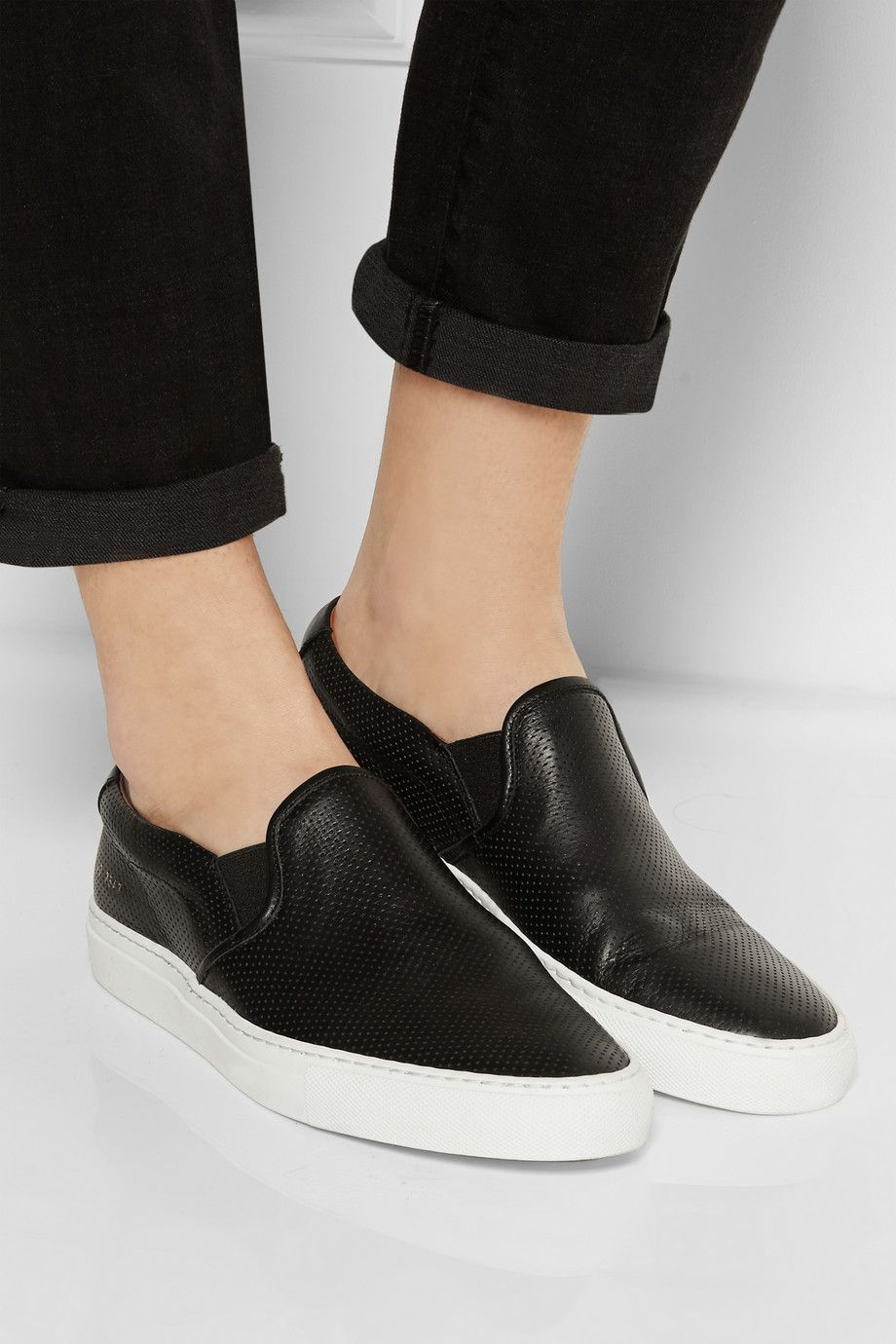 Perforated leather slip-on sneakers