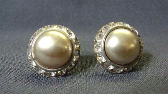 Silver Cabochon Rhinestone Screw Back Earrings Japan by EtagereLLC, $5.00
