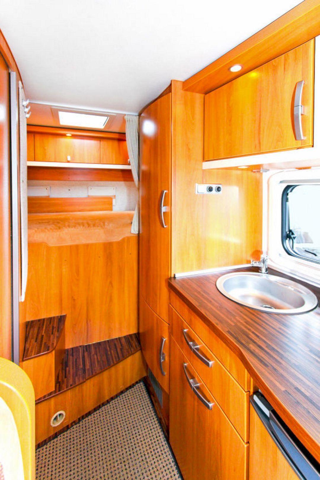24 Cozy Small RV Bedroom Design in Rear Kitchen