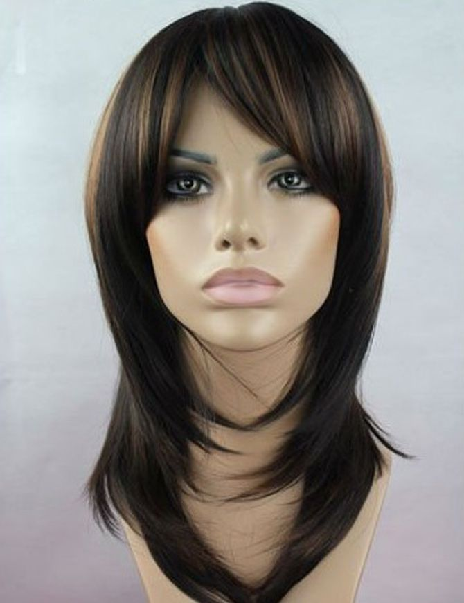 Long Brown Hair With Bangs Dark