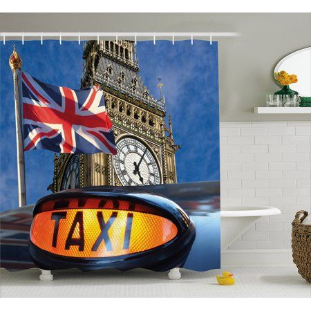Union Jack Shower Curtain Flagon Pole And Big Ben Taxi Cab Urban Modern Country Symbols Image Fabric Bathroom Set With Hooks 69W X 84L Inches