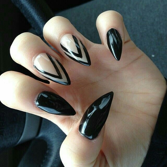Black and clear | |NAILS| | Pinterest | Long stiletto nails, Makeup ...