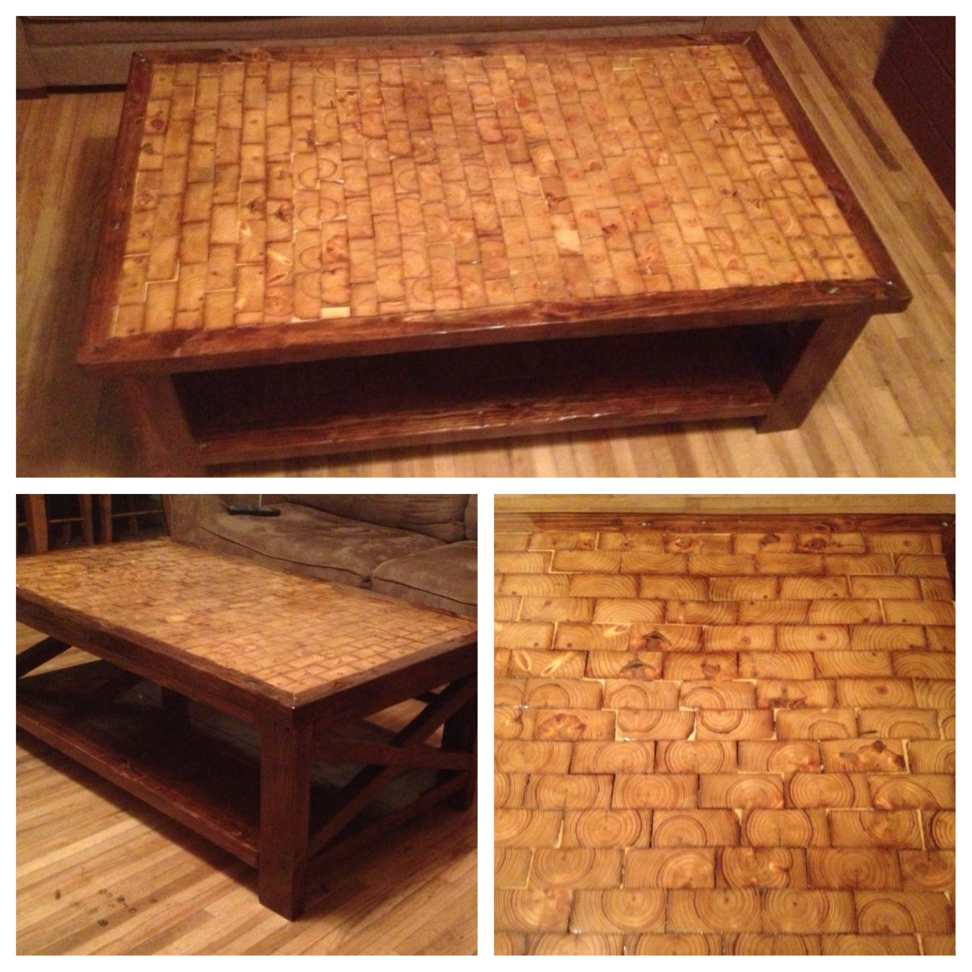 Coffee table my husband built from all reclaimed lumber from a