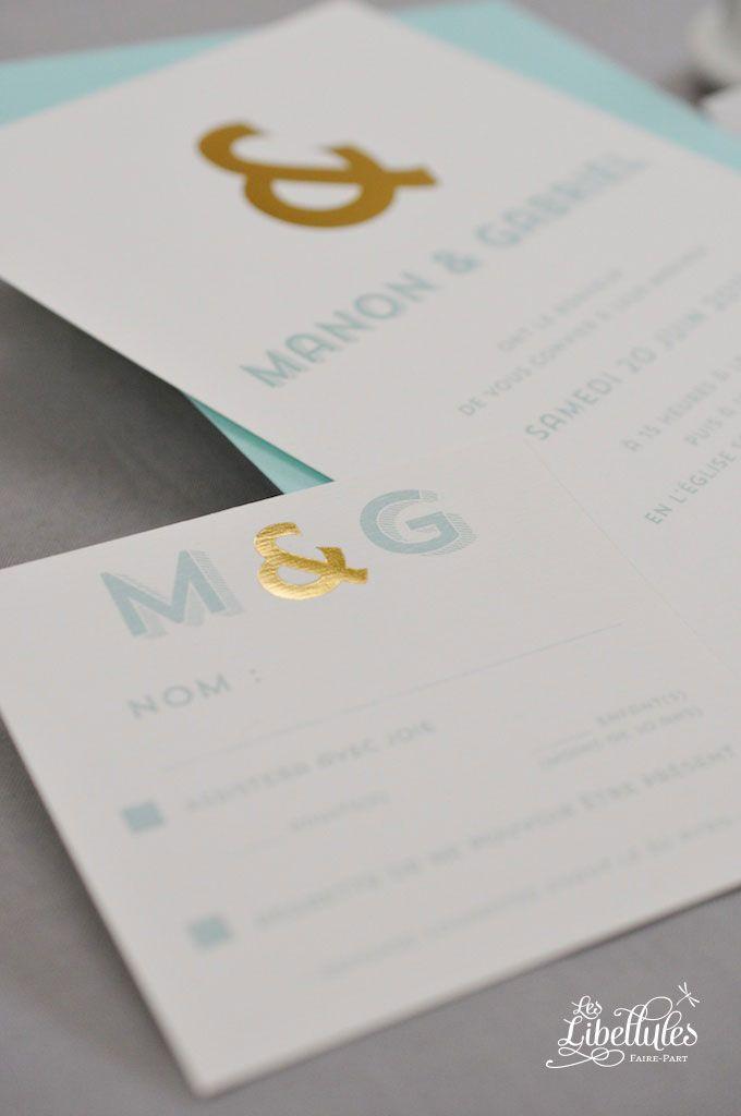 Faire-part de mariage Esperluette, bleu-vert Tiffany et dorure à chaud, avec carton-réponse et enveloppe Pollen assortis. Elégant, glamour et moderne. A découvrir sur Les-Libellules.fr
