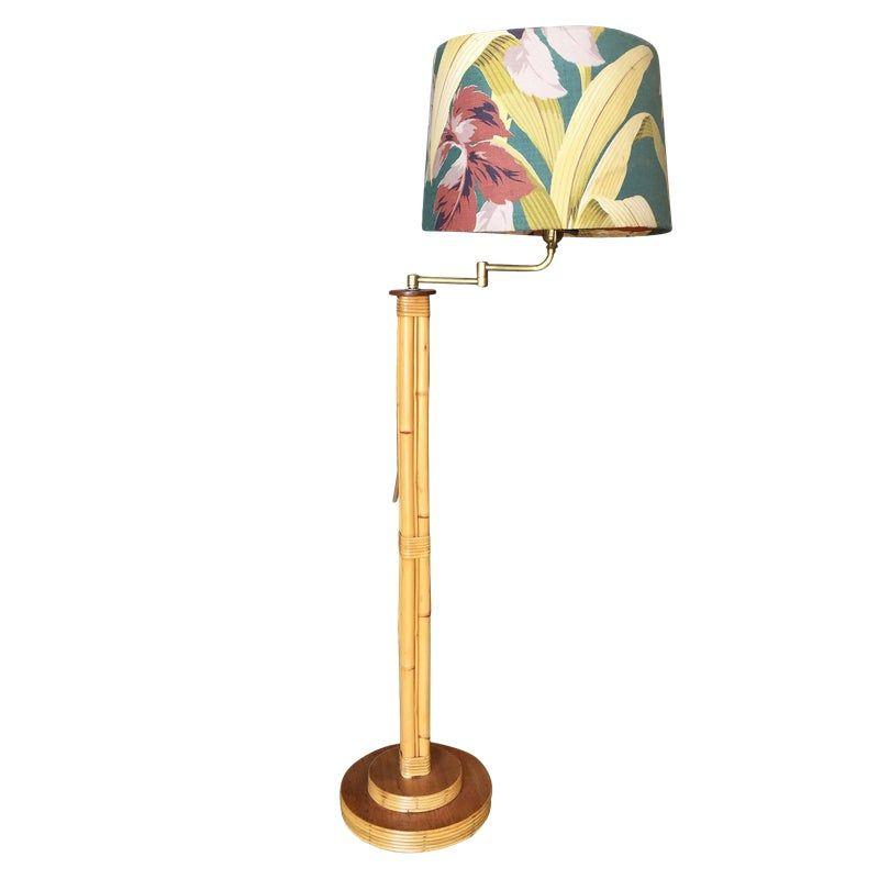 Restored Rattan Pole Reading Floor Lamp W Tropical Shade Reading Lamp Floor Floor Lamp Lamp