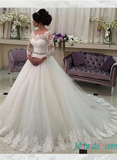 Modest Long Sleeved Tulle Ball Gown Wedding Dress With Belt Long