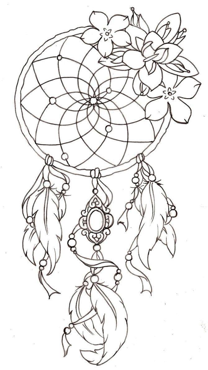 tekening patroon dromenvanger drawing template dreamcatcher