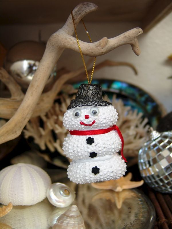 Coastal Christmas Ornament-Painted Sea Urchin Snowman with Hat