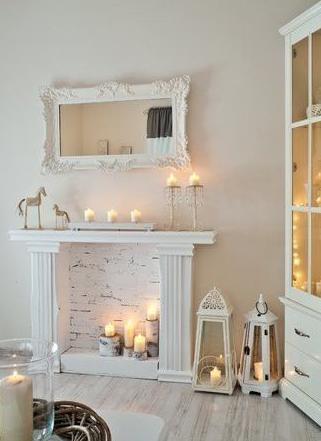 Esempi di arredo d 39 interni con scocca caminetto in legno for Camino finto fai da te per natale