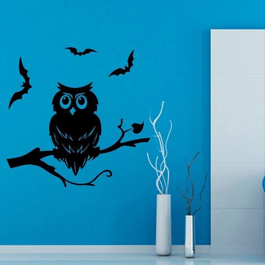 Wall Decals Owl on Tree and Bats Halloween Vinyl Sticker Murals Wall Decor KG210