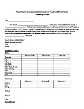 This form is to be given to the general education teacher to ...