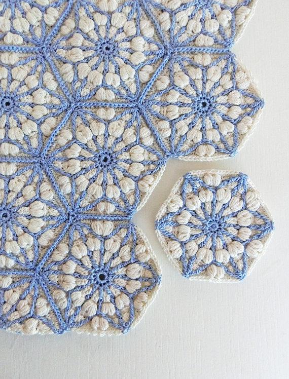 Crochet blanket pattern, the asanoha hexagon, crochet afghan ...