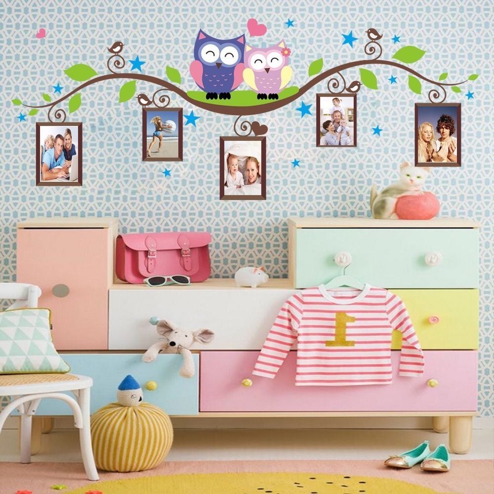 Owls On Branch Photo Frame Wall Decals Sticker Vinyl Mural Kids - Wall decals kids roomowl tree branch photo frames wall decal removable wall stickers