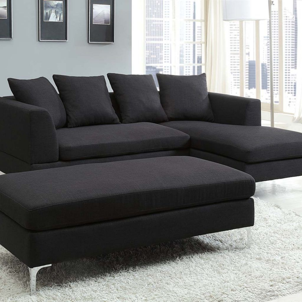 quality design 39021 cc60f Black Fabric Sectional Sofa With Chaise | Sofas | Sectional ...