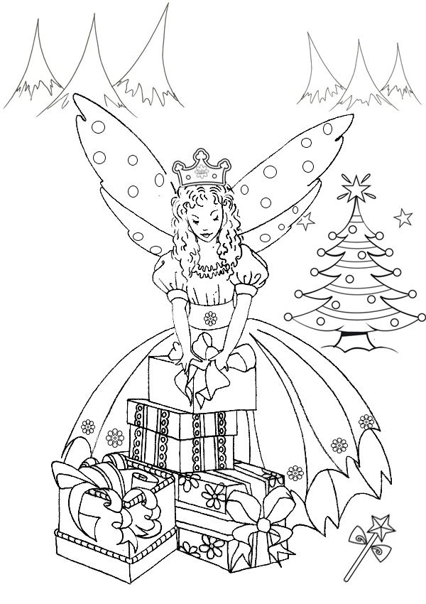 free online printable kids colouring pages the christmas fairy colouring page