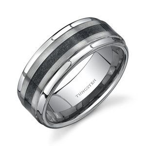 Oravo Step Edge Brush Finish Black Carbon Fiber 9 mm Comfort Fit Mens Tungsten Wedding Band Ring