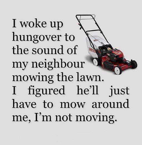 Neighbor mowing...