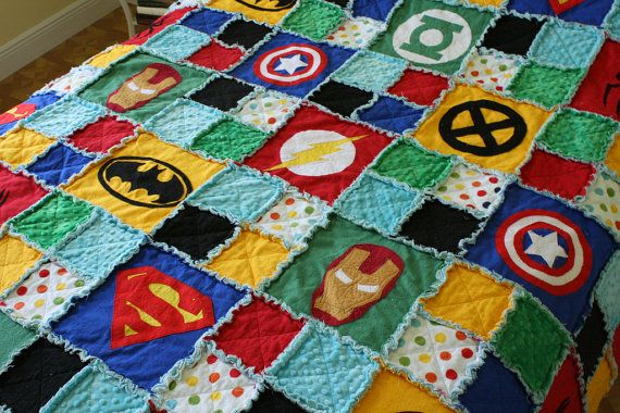 Superb Superhero Rag Quilt Crib Size. Spiderman Superman Batman Hulk. Superhero  Nursery. Superhero Blanket. Superhero Bedding. Superhero Quilt