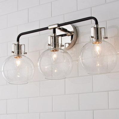 Hinley Seeded Glass Vanity Light 3 Light In 2020 Glass Vanity Vanity Lighting Chrome Bathroom Fixtures