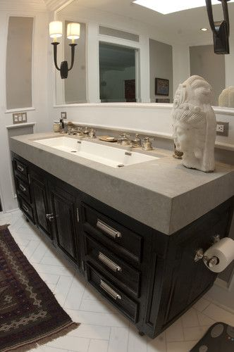 I Want This Sink In My Bathroom One Long Sink To Share Instead Of 2 Sinks With Awkward Counter Space In Th Trendy Bathroom Trough Sink Bathroom Bathroom Decor
