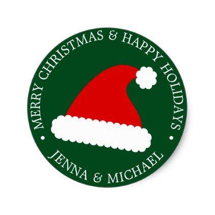 Merry Christmas Happy Holidays Santa\u0027s Hat Classic Round Sticker