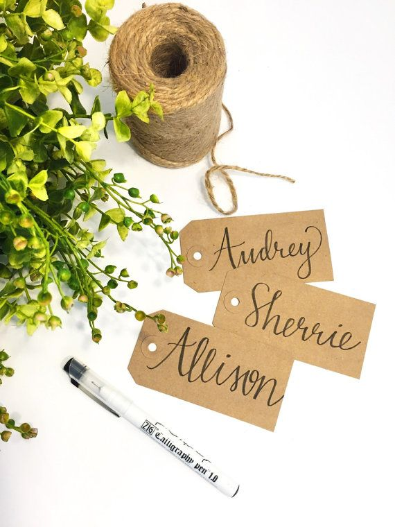Hand Lettered Name Tags-Gift Tags-Calligraphy by OhMyWordDesigns