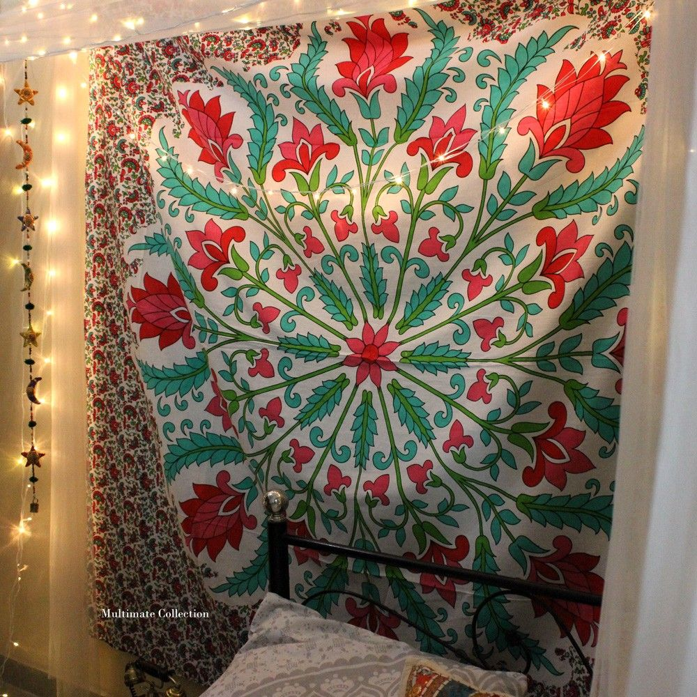 Add A Colorful Touch To Your Home Or Apartment By Hanging This Cool Colorful Flower Tapestry This Trippy Tapestry Is Hippie Home Decor Tapestry Hippie Bedding