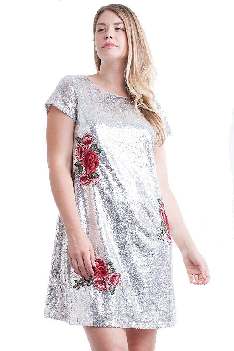 720fa1a8146 Nyteez Women s Plus Size Metallic Sequin Dress with Rose Applique