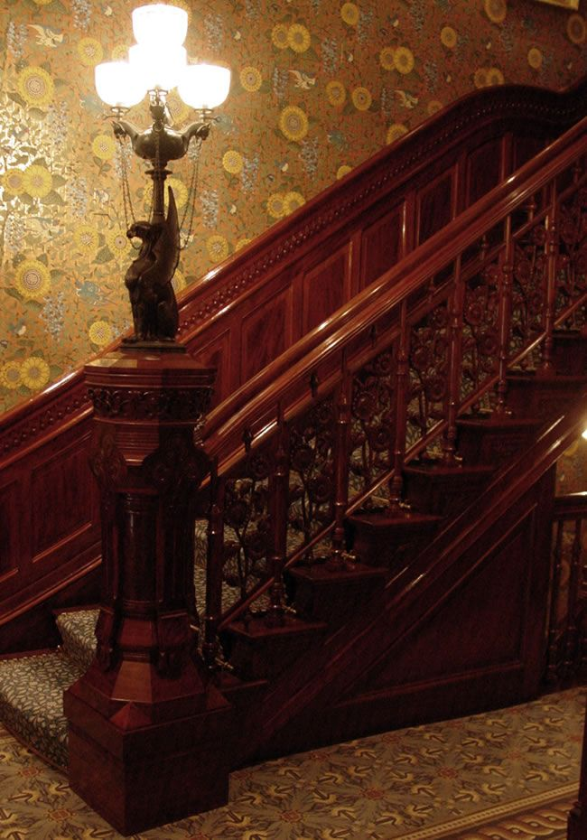 Carved Stairs Panels And Newel Post Walnut Private Residence New York City Stair Paneling Victorian Homes Victorian Interiors