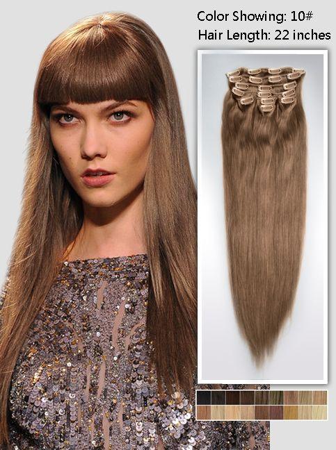22 Inch Brunette Long Clip In Cheap Hair Extensions 125g Uss1022