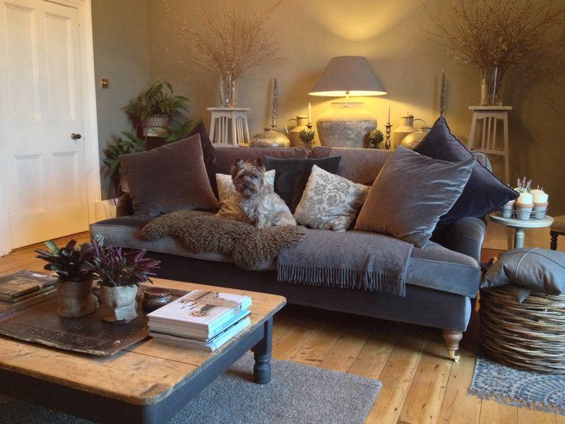 The Bluebell Sofa In Elephant Pure Cotton Matt Velvet Dark Grey