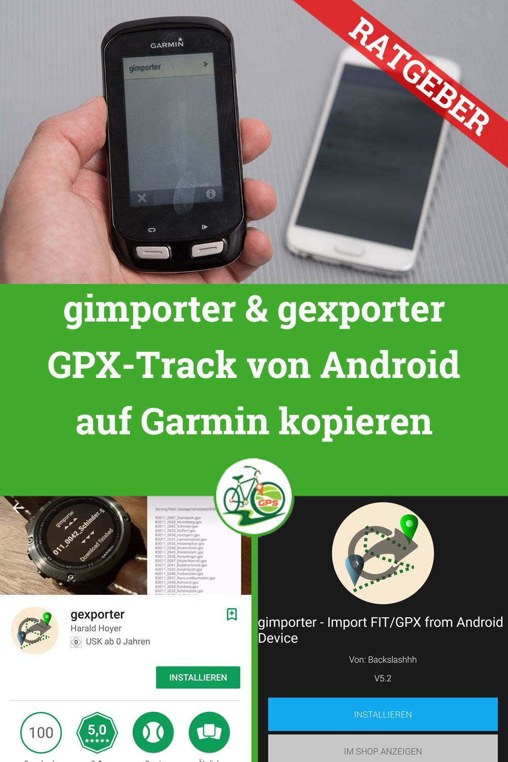 gimporter & gexporter Connect IQ App » Track Android