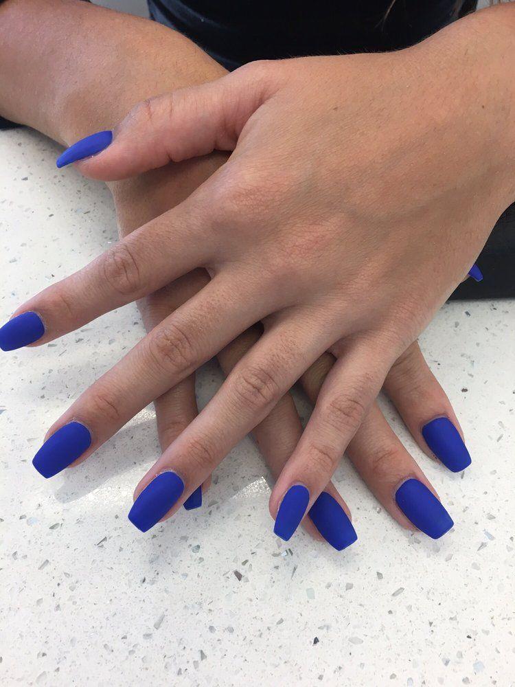 Matte Blue Gel Short Coffin Shape Yelp Acrylic Nail Shapes Blue Matte Nails Coffin Shape Nails