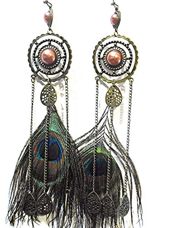 Antique Gold & Coral Peacock Chain Earrings One of by MoodTherapy