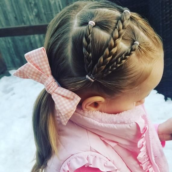 Girl's and Toddlers Gingham Fabric Hair Bow, Spring Headband -   18 dressy hairstyles For Kids ideas